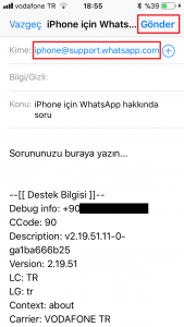 Whatsapp destek e-mail adresi