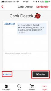 n11 canlı destek görüşme ekranı